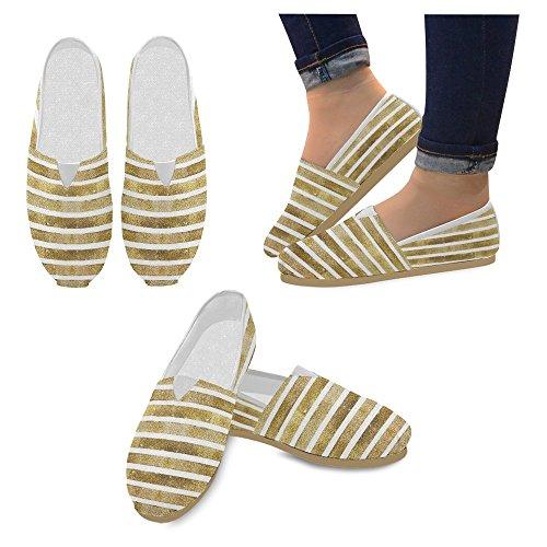 InterestPrint Frauen Loafers Klassische beiläufige Segeltuch-Beleg-auf Art- und Weise beschuht Turnschuhe-Ebenen Streifen