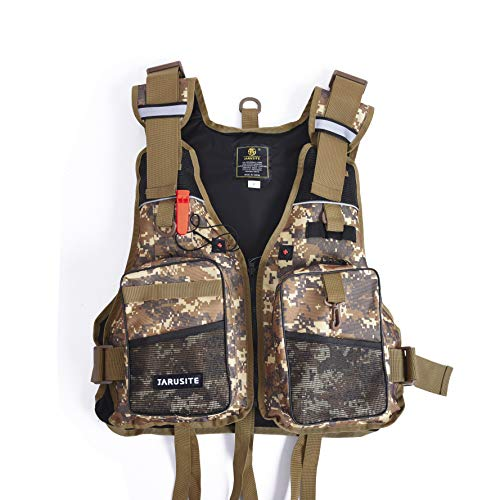 MLFuture Life Vest Adjustable Size Watersports with Multi-Pockets Whistle and Reflective Stripe for Men and Women with Breathable Mesh, Trout Fishing Gear, for Outdoors Photography Stream Fishing from MLFuture