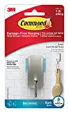 Small Bathroom with Shower Command Bath Hook, Small, Satin Nickel, 1-Hook, 2-Small Water-Resistant Strips (BATH33-SN-ES)