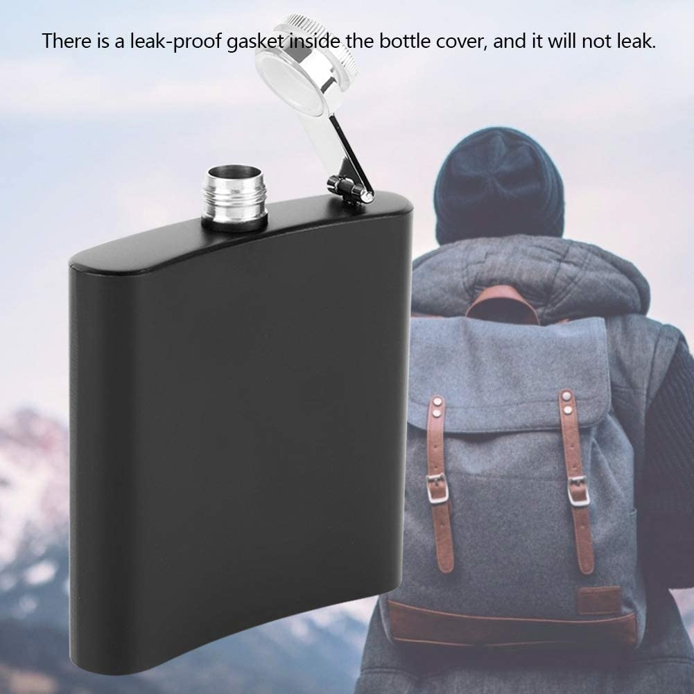 jskjlkl Black Portable Stainless Steel U-shaped Alcohol Whiskey Flask Bottle