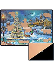 Becko Double-Sided Khaki & Black Jigsaw Puzzle Board Portable Puzzle Mat for Puzzle Storage Puzzle Saver, Non-Slip Surface, Up to 1000 Pieces