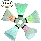 BLUBOON Badminton Set LED Shuttlecock Feather Super Bouncy Light Badminton Birdies