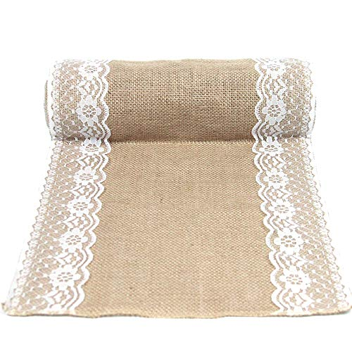 (Junxia DIY Rustic Burlap Lace Hessian Table Runner White Lace Both Side for Wedding Festival Event Table Decoration)