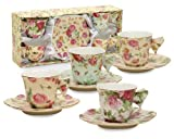 Gracie China Rose Chintz 2-Ounce Porcelain Espresso Cup and Saucer with Butterfly Handles, Set of 4 by Gracie China by Coastline Imports