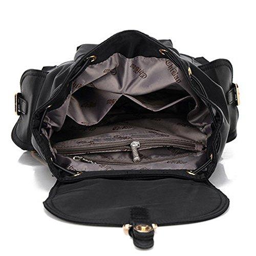 Dama Capacidad Nueva Viaje Mochila Gran Black negro Lady's Meaeo Moda Bolso De Placer ABwEqxx41