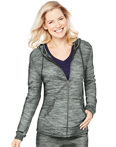 Hanes+Women%27s+French+Terry+Full-Zip+Hoodie%2C+Black+Space+Dye%2C+XX-Large