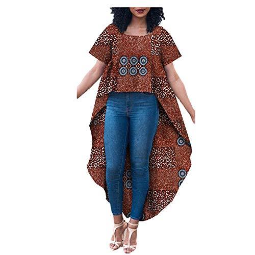 African Style Ankara Print Women Dress Tailor Made Short Sleeve T-Shirt Plus Size 100% Wax Cotton AA722301 261-6J M