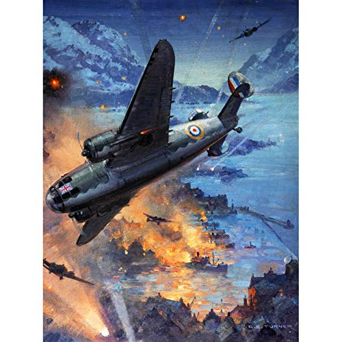 Turner War WWII Hudson Bombers Raid Painting Art Print Canvas Premium Wall Decor Poster Mural