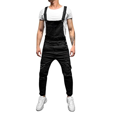 8d4d5220a630 Men s Jean Overall Jumpsuit Men s Pockets Slim Fit Ripped Denim Overalls  Casual Bib Pants Jumpsuit Suspender