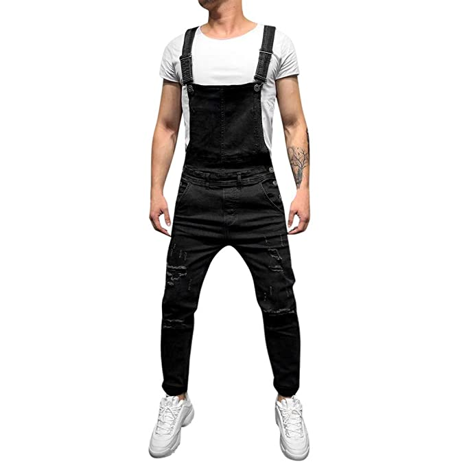 7424685b4734 Fanteecy Men Pocket Denim Bib Overalls Slim Fit Snow Washed Ripped  Destroyed Suspender Jeans Pants Jumpsuits