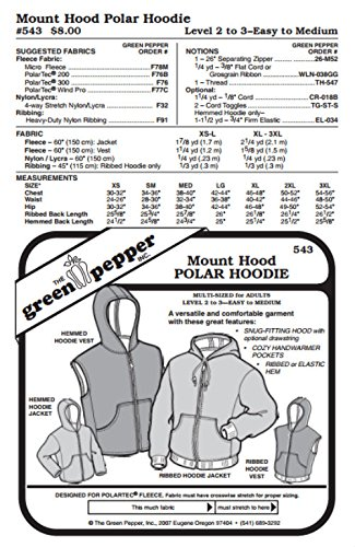 Green Pepper Fabric - Adult Mount Hood Polar Hoodie Vest Jacket Coat #543 Sewing Pattern (Pattern Only)