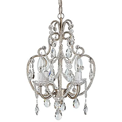 "Tiffany Collection' All Crystal Swag Chandelier Lighting with 4 Lights, Mini Style W12"" X H15"""