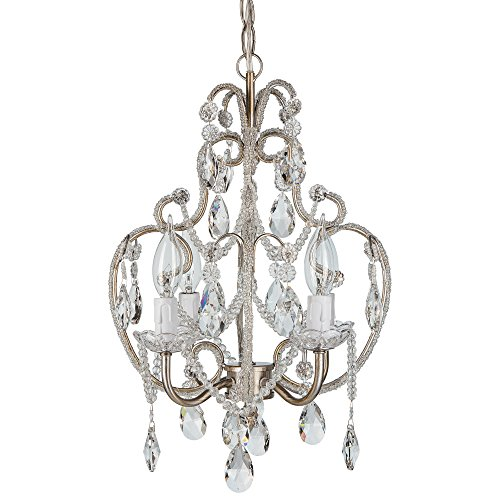 'Tiffany Collection' Authentic Crystal Beaded Mini Swag Chandelier Lighting with 4 Lights, W12″ X H15″ (Silver)