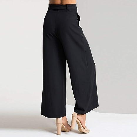 Casual femme Pure Taille Haute Plissée Pantalon Jambe Large Palazzo élastique Pantalon N7