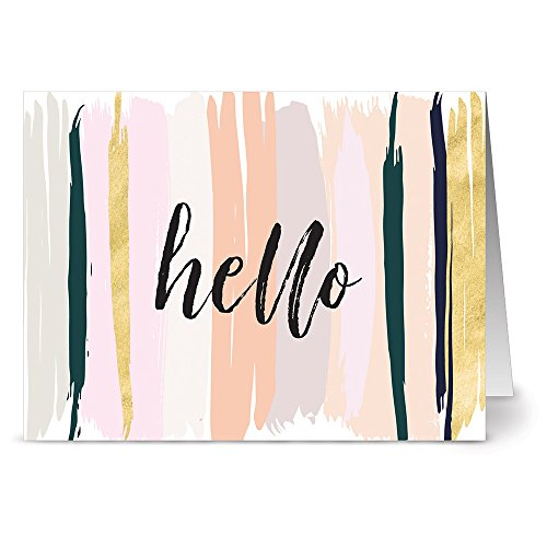 24 Note Cards - Neutral Brushed Hello - Blank Cards - Gray Envelopes Included (Blank General Card)