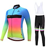 Uriah Women's Cycling Jersey and White Bib Pants Thermal Fleece Sets Long Sleeve Reflective