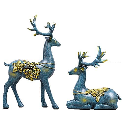 Resina Ciervo Estatua Jardín Tumbado En Escultura Cabaña Animal Estatua Choza Art Deco Interior Al Aire Libre Hogar O...