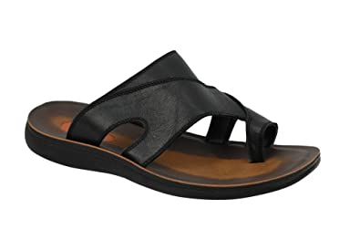 63b0ba4d461e Mens Leather Black Brown Big Size Toe Grip Holiday Sandals Pool Thong  Slippers  Amazon.co.uk  Shoes   Bags