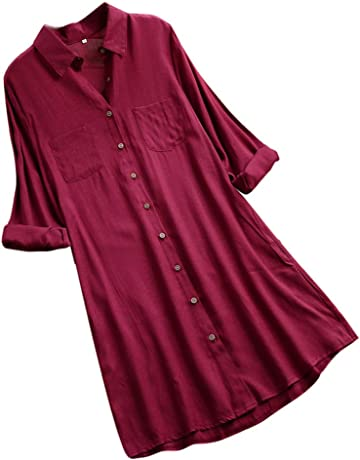 Women Long Mini Shirt Dress Ladies Elegent Solid Color Long Sleeve O-Neck  Button Tops a0217f81ef87