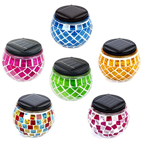iGlow 6 Pack Outdoor Assorted Solar Powered Mosaic Lights Crystal Glass Ball LED Landscape Path Lamp Post Deck Fence
