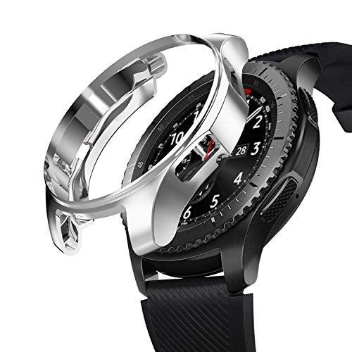 SIRUIBO Case for Samsung Gear S3 Frontier SM-R760, TPU Scractch-Resist Frame Protective Cover Shell for Samsung Gear S3 Frontier/Classic Galaxy Watch 46mm SM-R800 Smartwatch, Silver