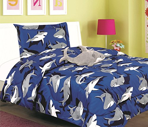 All American Collection New 3pc Children's Comforter Set with Furry Toy (Twin, SHARK)