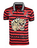 SCREENSHOTBRAND-S11865 Hip-Hop Premium Tees - Stylish High Density Roaring Tiger Rubber Print Rose Flower Embroidery Polo -Red-Medium