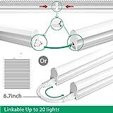 FrenchMay LED T5 mini utility linkable shop light 4ft, 22W, 85CRI, 2200Lumens, 5000K, 32w Fluorescent Equivalent, integrated ceiling light & under Cabinet shop light for garage, workshop, basement