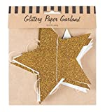 Party Partners Stars Glittery Paper Garland, Gold