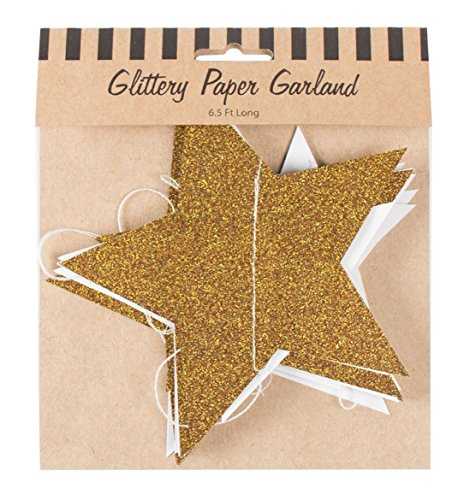 Party Partners Stars Glittery Paper Garland, Gold by Party Partners