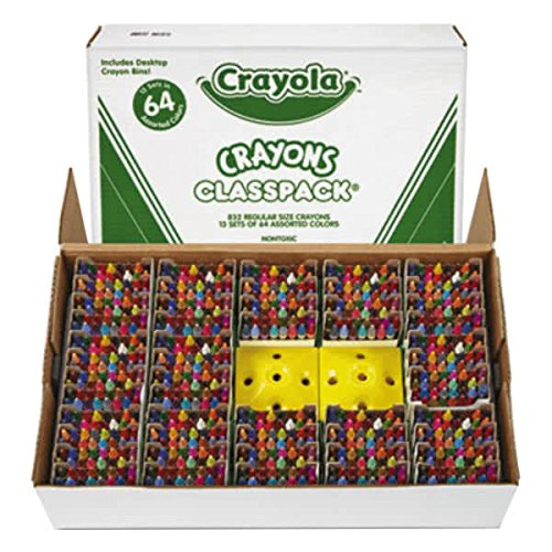 TableTop King 528019 Classpack Assorted 64 Color Regular Size Crayon Pack with 13 Caddies - 832/Box