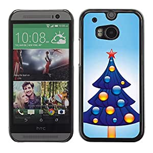 YOYO Slim PC / Aluminium Case Cover Armor Shell Portection //Christmas Holiday Blue Tree 1071 //HTC One M8