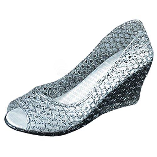 xsby Cutout Glitter Crystal Jelly Sandals, Women Round Toe Jelly Glitter Wedge Webbed Plastic Rain Sandals ()