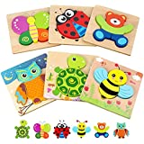 Toddler Puzzles, Wooden Jigsaw Animals Puzzles for 1 2 3 Year Old Girls Boys Toddlers, Educational Preschool Toys Gifts for Colors & Shapes Cognition Skill Learning