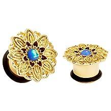 KUBOOZ Popular Flower Heart of Opal Ear Plugs Tunnels Gauges Stretcher Piercings Jewelry