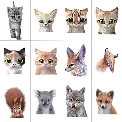 WYUEN 12 PCS/lot Cat Animals Temporary Tattoo Sticker for Kids Children Fashion Body Art Boy Waterproof Hand Fake Tatoo 9.8X6cm FW12-37