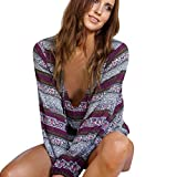 Product review for Vovotrade Fashion Womens Summer Boho Long Sleeve Casual Blouse Loose Tops T Shirt (M, Purple)