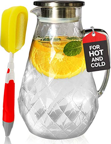 Glass Water Pitcher with Diamond Pattern and TIGHT Lid 72 ounces, THICKER Heat Resistant Borosilicate Glass Carafe with FREE Brush (in Christmas Ready Packaging) by Pykal ()