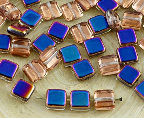 30pcs Crystal Metallic Iris Purple Half Flat Square Tile One Hole Czech Glass Beads 6mm x 6mm