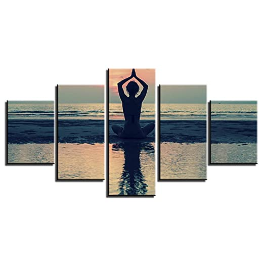 YHEGV Cuadro en Lienzo 5 Paneles Yoga Paisaje Imágenes ...
