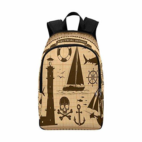 Vintage Nautical Custom Casual Backpack School Bag Travel Daypack]()