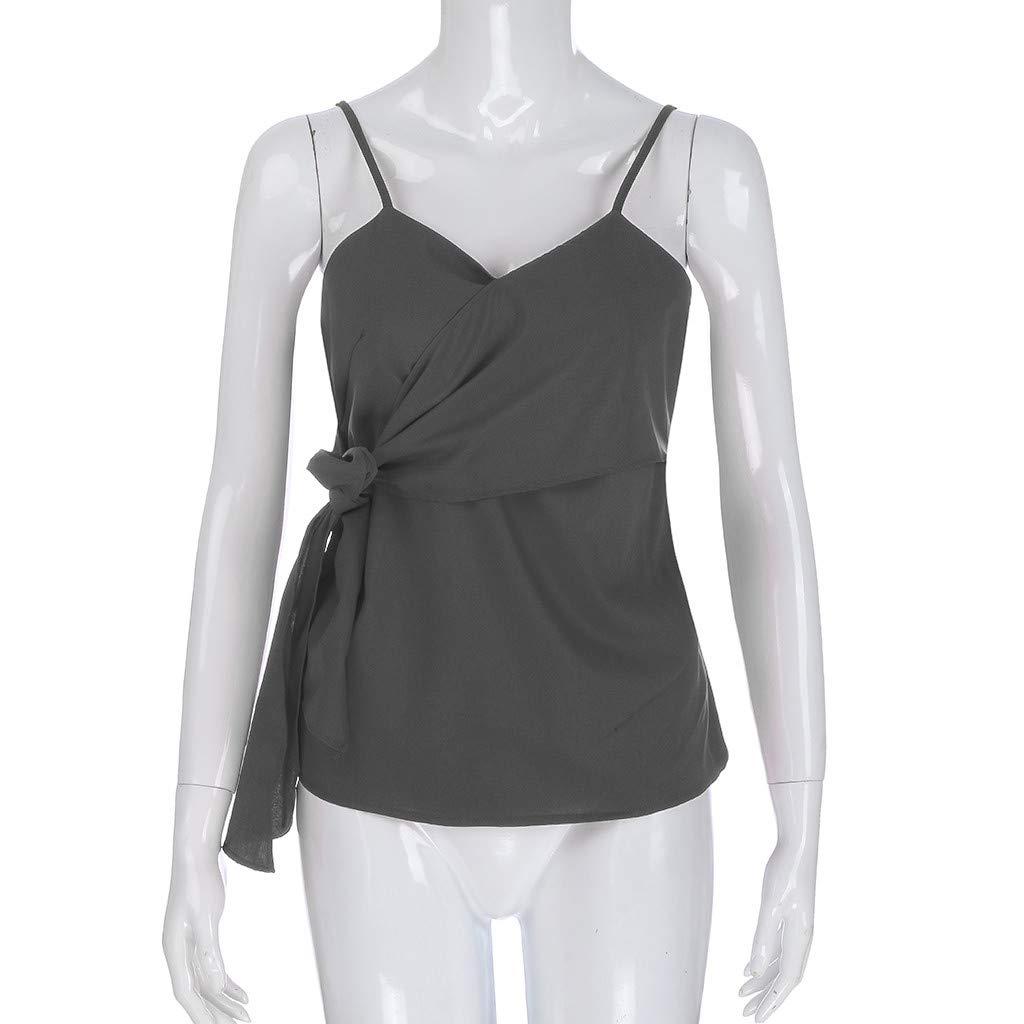 Blouses for Women Fashion 2019,YEZIJIN Women Summer Fashion Casual Camis Sleeveless Crop Ruffle Solid Bandage Tops Gray by Yezijin_Women's Wear (Image #3)