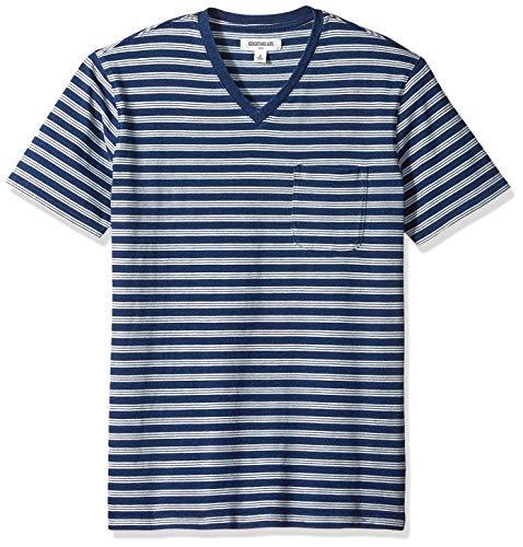 Indigo Mens Shirt - Goodthreads Men's Short-Sleeve Indigo V-Neck Pocket T-Shirt, Dark Triple Stripe, XX-Large Tall