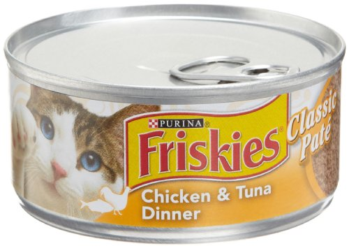 Purina Friskies Pate Chicken & Tuna Dinner Cat Food - (24) 5.5 oz. Pull-top Can