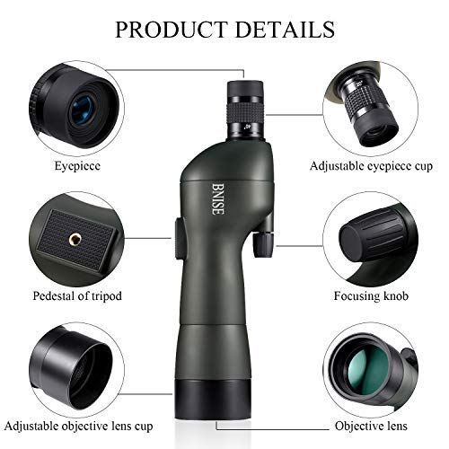 BNISE Spotting Scope for Bird Watching and Hunting, FMC Optics, 20-60x60 Zoom Monocular Waterproof Telescope, with Tripod and Case, Camera and Phone Adapter - Straight by BNISE