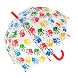Children's Multi Coloured Hand Print Transparent Dome Umbrella (3490 Red)