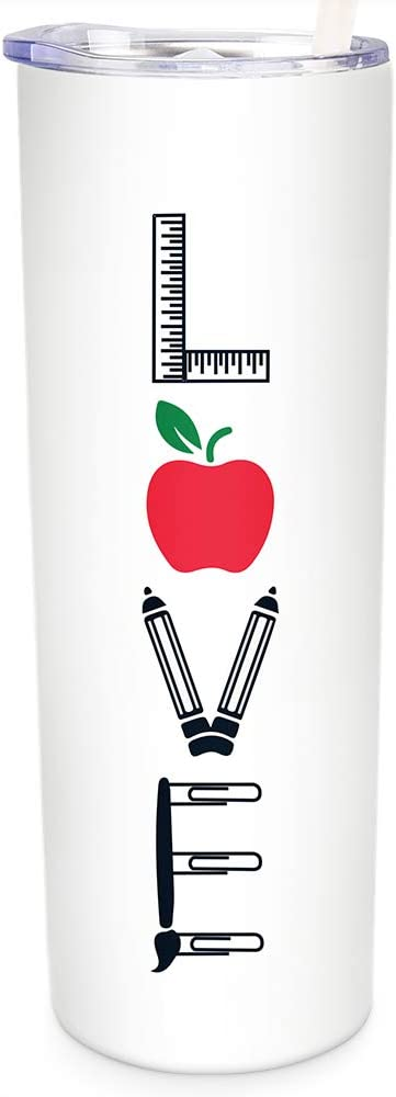 SassyCups Teacher Tumbler with Straw | Vacuum Insulated Stainless Steel Mug with Apple | New Teacher Appreciation | Virtual E-Learning School | Cute Tumbler for Teachers (20 oz, White, Red, Green)