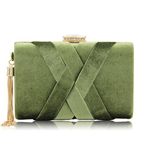 Soirées Clutches Épaule Green Mariage Robe Velours Sac Sortir Main À Femmes Glands OOqxawtT