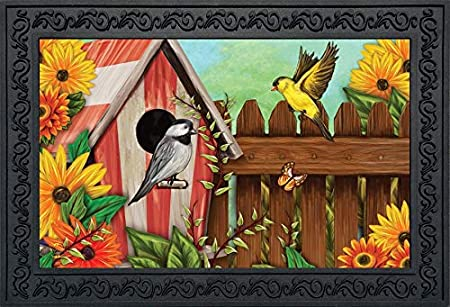 "Birdbath Gathering Spring Doormat Floral Indoor Outdoor 18/"" x 30/"" Briarwood Lane"