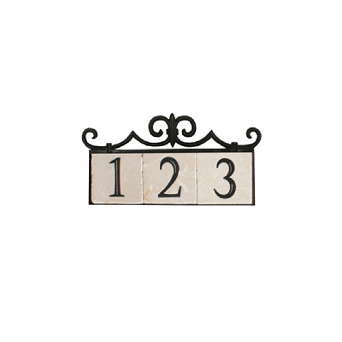 NACH KA House Address Sign/Plaque - Colonial, 3 Numbers, Iron, 14 x 8 x 1''